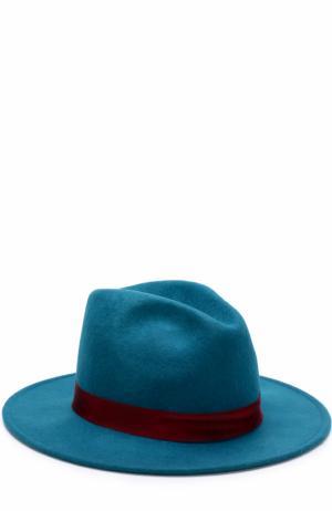 Шерстяная шляпа с лентой и брошью Roberto Cavalli. Цвет: голубой