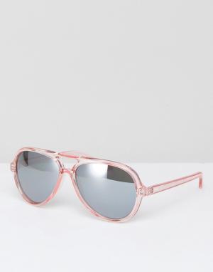 AJ Morgan Розовые пластмассовые солнцезащитные очки-авиаторы. Цвет: розовый