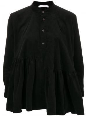 Вельветовая блузка со сборкой Peter Jensen. Цвет: чёрный