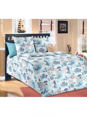 Комплект постельного белья в кроватку, простыня на резинке ARKADY. Цвет: серо-голубой, голубой