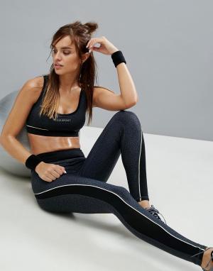 Elle Sport Спортивные леггинсы с леопардовым принтом в тон и контрастной окантовк. Цвет: черный