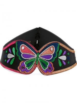 Ремень с вышивкой в виде бабочки Manish Arora. Цвет: чёрный
