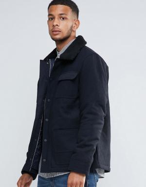 Tokyo Laundry Куртка из 50% шерсти на подкладке с воротником борг. Цвет: темно-синий
