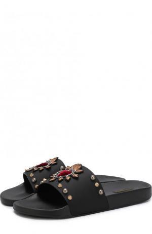 Резиновые шлепанцы с отделкой Dolce & Gabbana. Цвет: черный