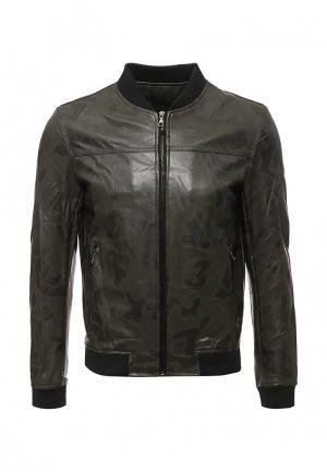 Куртка кожаная Vanzeer. Цвет: хаки