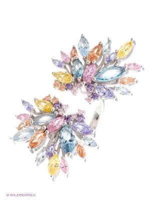 Кольцо JV ДЖЕЙ ВИ. Цвет: серебристый, оранжевый, розовый, желтый, голубой