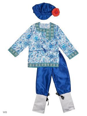 Карнавальный костюм Вася-Василёк Батик. Цвет: лазурный, белый