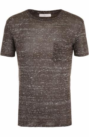 Льняная футболка с нагрудным карманом Daniele Fiesoli. Цвет: хаки