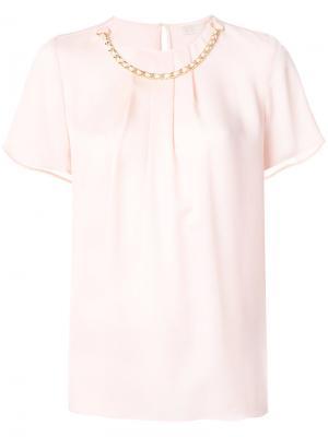 Блузка с цепочкой Michael Kors. Цвет: розовый и фиолетовый