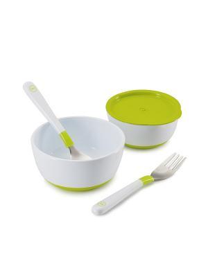 Набор тарелок с крышкой Happy Baby. Цвет: светло-зеленый