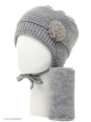 Шапка, шарф Tricotier. Цвет: серый