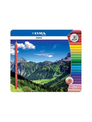 Lyra osiris 24 цв. цветные лакированные карандаши, в мет. Коробке.. Цвет: синий, желтый, зеленый