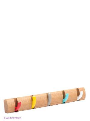 Вешалка настенная горизонтальная Flip 5 крючков Umbra. Цвет: бежевый