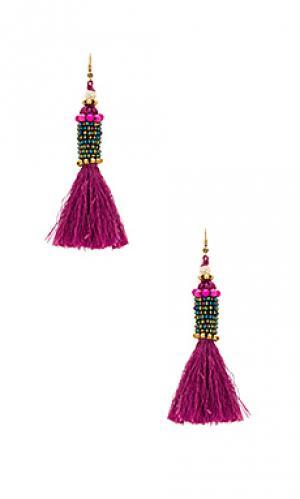 Цилиндрические серьги с кисточками kata Natalie B Jewelry. Цвет: фуксия