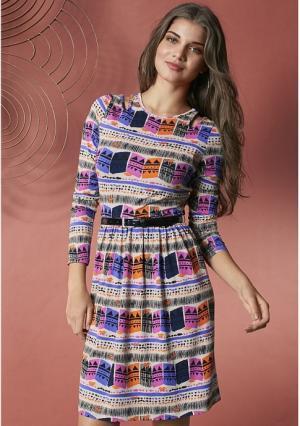 Платье Y.O.U.. Цвет: экрю с рисунком