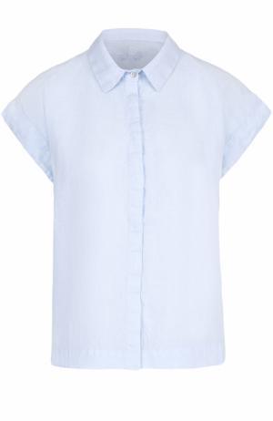 Льняная блуза прямого кроя с коротким рукавом 120% Lino. Цвет: голубой