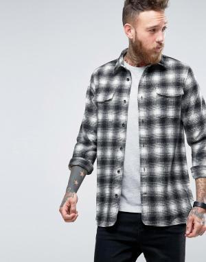 Hoxton Shirt Company Рубашка узкого кроя в клетку. Цвет: серый