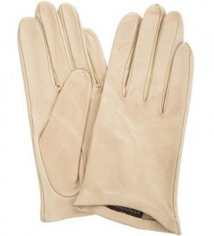 Кожаные перчатки без подкладки ELEGANZZA. Цвет: бежевый