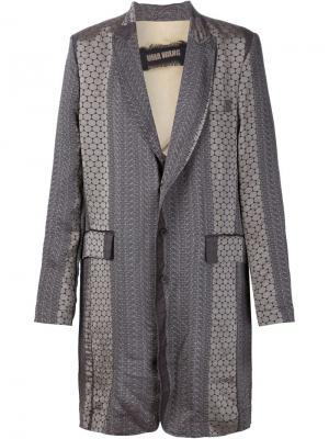 Однобортное пальто с принтом Uma Wang. Цвет: серый