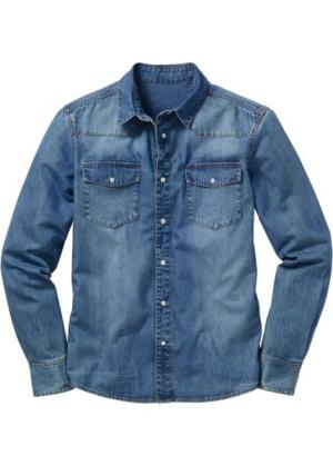 Джинсовая рубашка с длинными рукавами (синий «потертый») bonprix. Цвет: синий «потертый»