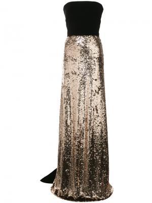 Платье-бюстье с расшитой пайетками юбкой Monique Lhuillier. Цвет: металлический