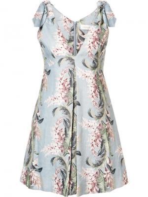 Расклешенное платье с цветочным принтом Zimmermann. Цвет: синий