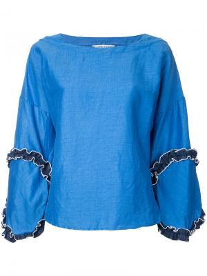 Блузка с отделкой рюшами Tsumori Chisato. Цвет: синий