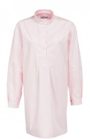 Хлопковая домашняя блуза в полоску The Sleep Shirt. Цвет: розовый