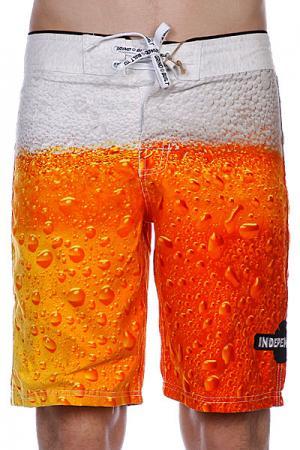 Пляжные мужские шорты  Bottoms Up Beer Print Independent. Цвет: оранжевый