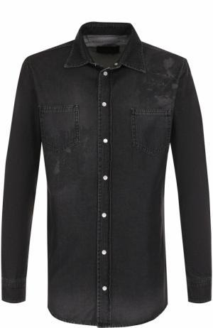 Джинсовая рубашка на кнопках с принтом Philipp Plein. Цвет: темно-серый