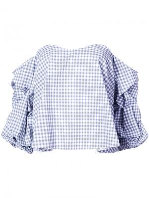 Блузка с принтом гингем и присборенными рукавами Caroline Constas. Цвет: серый