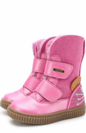 Кожаные сапоги с замшевой отделкой и стразами на застежках велькро Missouri. Цвет: розовый