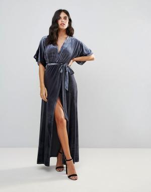 WYLDR Бархатное платье макси с запахом Dreamer Desert Moon. Цвет: серебряный