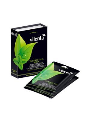 Коллагеновая маска для лица Зеленый чай и мята (10 масок) Vilenta. Цвет: прозрачный