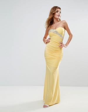 City Goddess Платье макси с лифом-бандо и шлейфом. Цвет: желтый