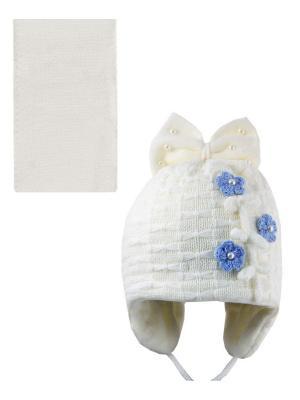 Шапка, шарф Pro-han. Цвет: молочный, голубой