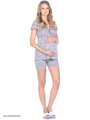 Комплект домашней одежды для беременных и кормления ( блузка, шорты) 40 недель. Цвет: серый