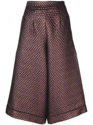 Расклешенные укороченные брюки Ultràchic. Цвет: розовый и фиолетовый