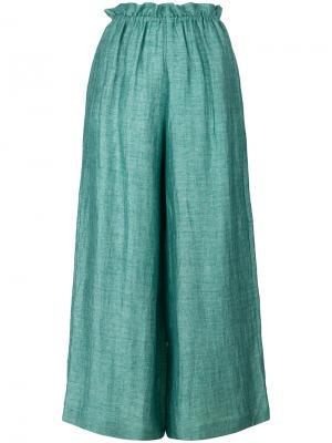 Укороченные широкие брюки Masscob. Цвет: зелёный