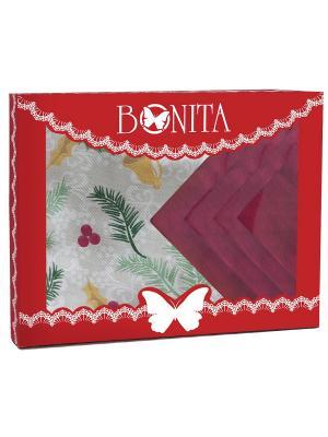 Скатерть BONITA. Цвет: зеленый, серый меланж, красный, белый
