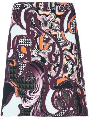 Юбка мини Baroccoflage Versace. Цвет: многоцветный