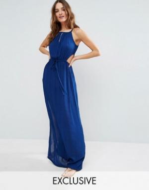 Akasa Пляжное платье макси с вырезами. Цвет: синий