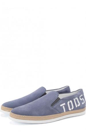 Классические кожаные оксфорды Tod's. Цвет: синий