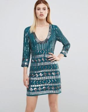 Maya Декорированное платье мини с открытой спиной. Цвет: зеленый
