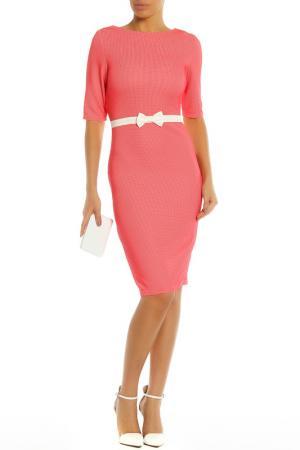 Платье с контрастным декором на поясе PAPER DOLLS. Цвет: coral