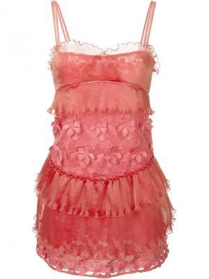 Платье с цветочной аппликацией Giamba. Цвет: розовый и фиолетовый