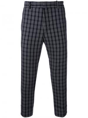 Укороченные брюки в клетку Paolo Pecora. Цвет: синий