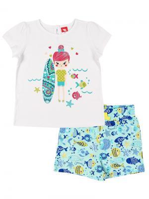 Комплект для  девочки (футболка,шорты) Cherubino. Цвет: белый