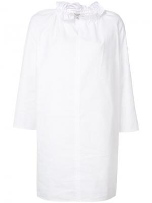 Платье-шифт с оборками на воротнике Atlantique Ascoli. Цвет: белый
