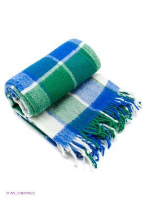 Плед РУНО. Цвет: синий, зеленый, белый